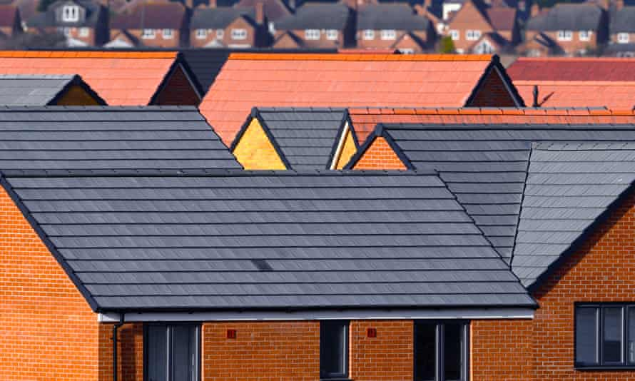 Newly constructed houses on a housing development near Kempston in Bedfordshire