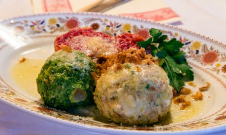 Knodel or Canederli bread dumplings, a typical speciality of Alto Adige or South Tyrol, Italy