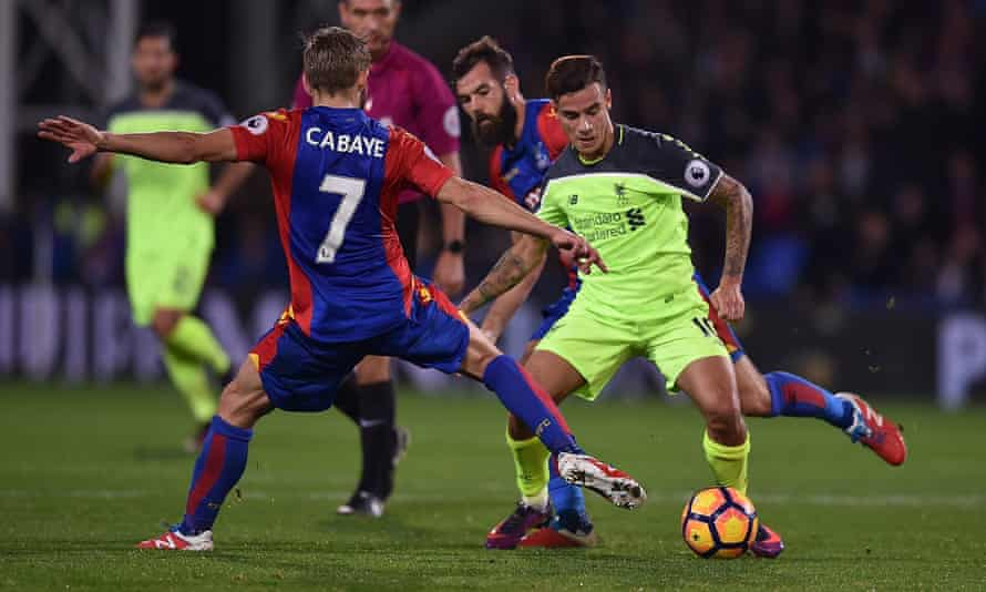 The player who benefits most from Liverpool's movement is Philippe Coutinho, right, who at times controlled the game at Selhurst Park.