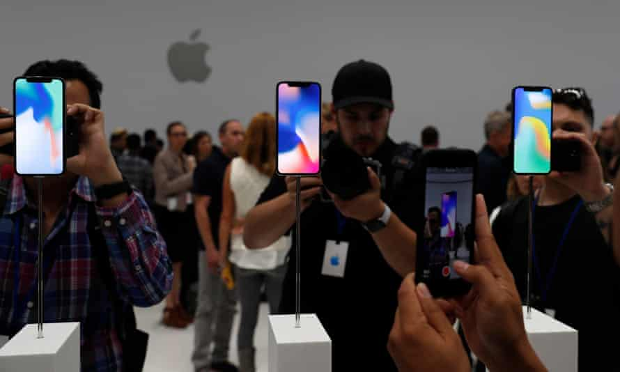 New iPhone models on display at the Apple launch event in Cupertino, California.