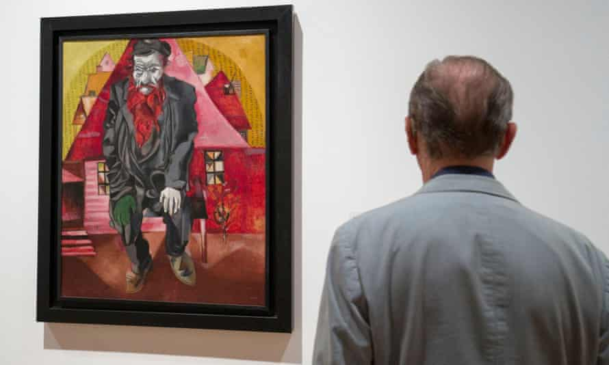 The painting Jew in Bright Red by Chagall on display in the Kunstmuseum, Basel, Switzerland.