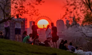 Greenwich Park, London. The sun sets