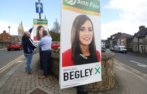 Sinn Fein election workers put up posters for candidate Orfhlaith Begley in Omagh canvasing for the upcoming West Tyrone byelection