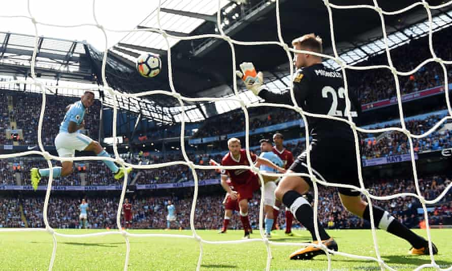 Gabriel Jesus heads past Simon Mignolet for City's second goal in 2017, it was the first of his two goals in the game.