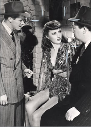 Barbara Stanwyck in Ball of Fire (1941) flanked Dan Duryea and Ralph Peters