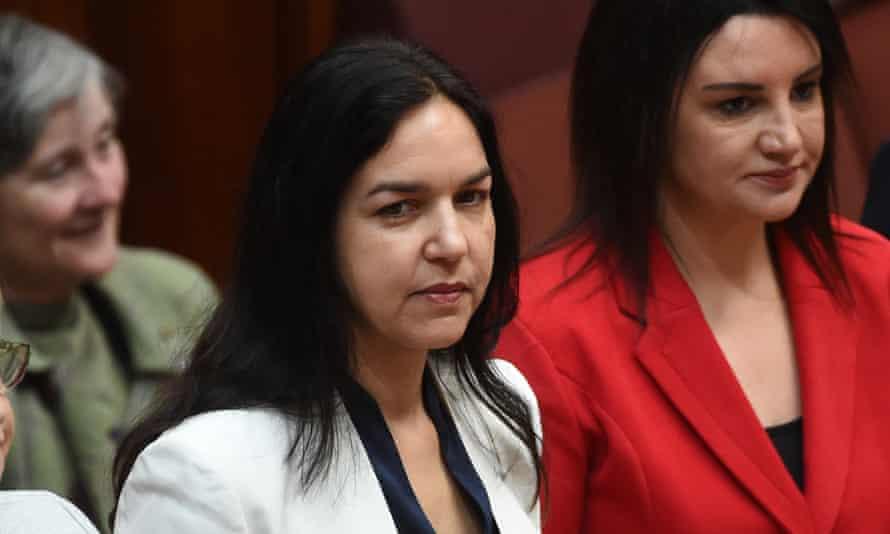 Labor senator Lisa Singh (centre) with Tasmanian independent senator Jacqui Lambie.
