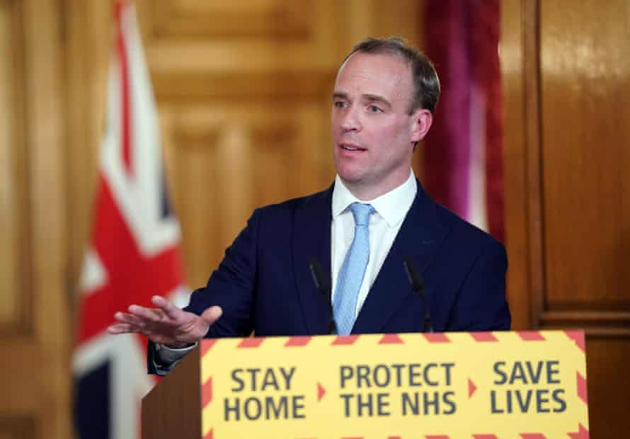 Dominic Raab during a media briefing in Downing Street on 6 April 2020.