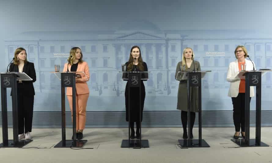 Finnish government press conference in May: (l to r) education minister Li Andersson, finance minister Katri Kulmuni, prime minister Sanna Marin, interior minister Maria Ohisalo and justice minister Anna-Maja Henriksson.