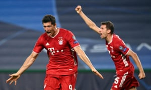 Robert Lewandowski of Bayern Munich celebrates after scoring his team's third goal.