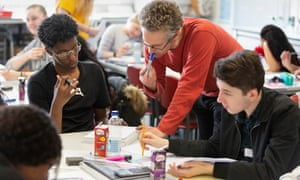 John Miller helps students at the A-level chemistry boot camp