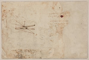 The reverse of the drawing, apparently showing a page from da Vinci's notebooks.