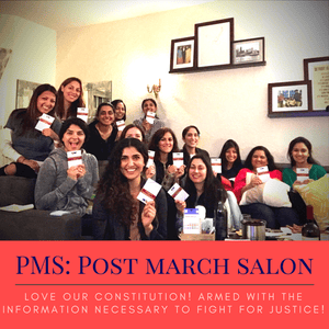 Women in San Francisco gathered at Palak Sheth's home for the first PMS (Post March Salon) event on February 20, showing off the US constitution given as a handout