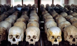 Skulls of victims of the Pol Pot era at the Choeung Ek shrine in Cambodia.