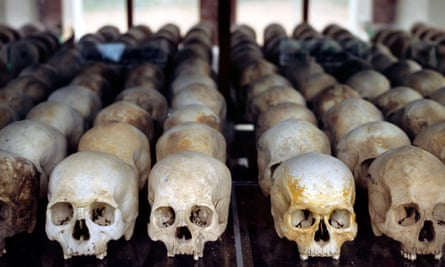 a row of skulls of the victims of the khmer rouge regime in cambodia