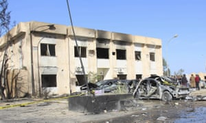 The damaged police training centre in Zliten