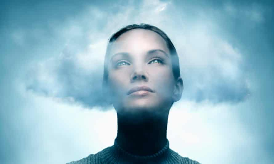 woman with head in cloud