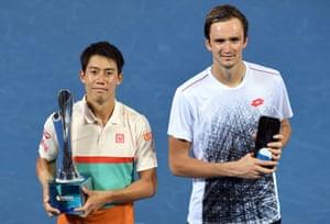 Kei Nishikori (left) beat Daniil Medvedev in three sets in the Brisbane International final.