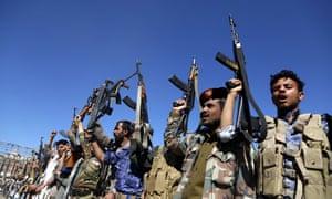 Houthi loyalists in Sana'a, Yemen