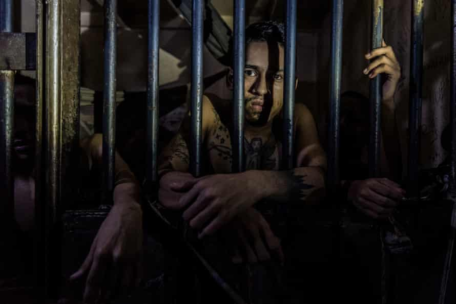 Prisoners crammed into their cells at a police station. Although prison overcrowding has been an issue for decades, the Venezuelan prison system has now reached the point of collapse