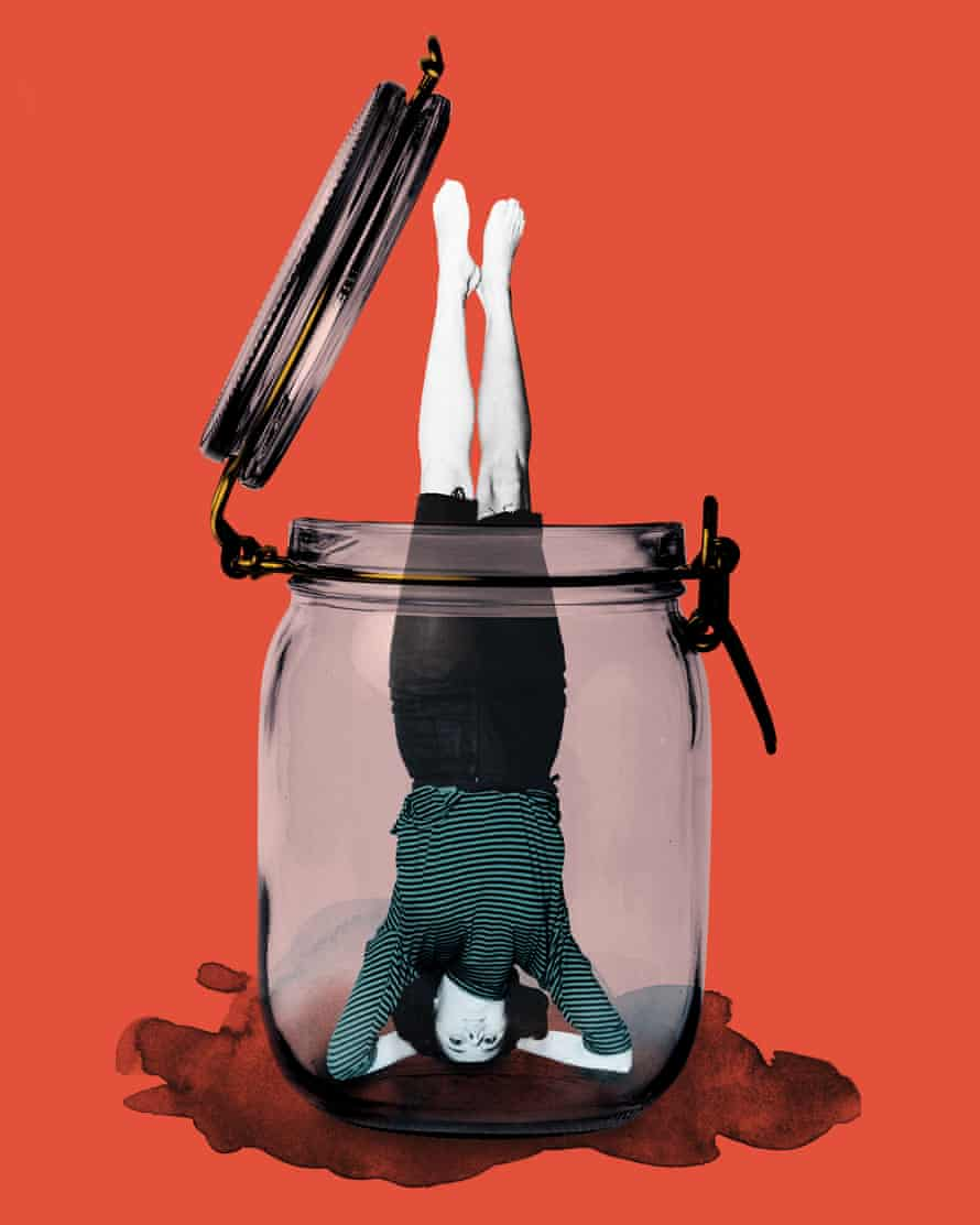 Illustration of a woman balancing on her head, trapped in a jar
