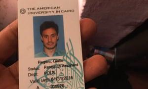 Giulio Regeni's student ID card
