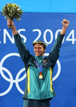 Ian Thorpe celebrates winning the 400 metre freestyle during the 2004 Olympic Games in Athens.