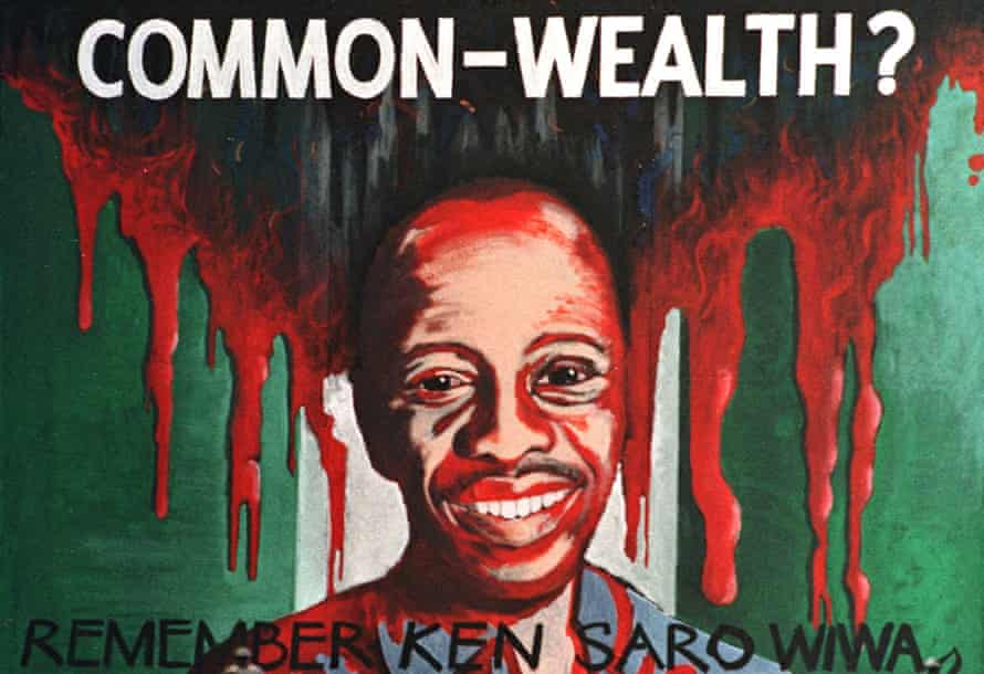 An Amnesty International portrait of author and activist Ken Saro-Wiwa, who was executed in Nigeria in 1995