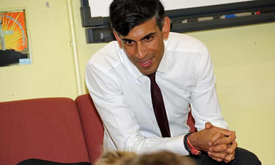 Rishi Sunak visits a school last September in his constituency