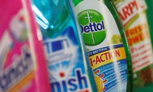 Reckitt Benckiser cleaning product: Vanish, Finish, Dettol and Harpic.