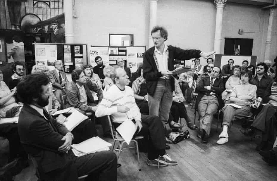 Taking action ... Bob Colenutt addresses a meeting of Waterloo residents in 1980 at which plans for development of the Coin Street sites were presented.