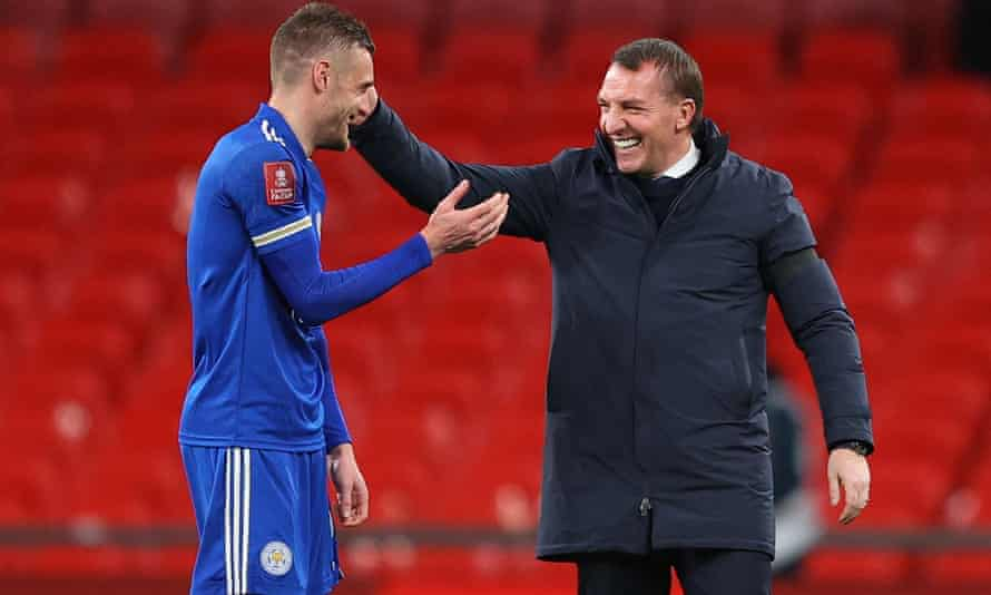A delighted Brendan Rodgers congratulates Jamie Vardy after the FA Cup semi-final win against Southampton.