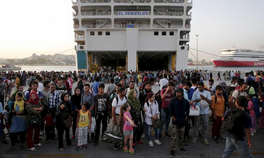 Refugees at the port of Piraeus, near Athens in September 2015