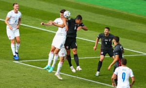 Dejan Lovren of Croatia clashes with Patrik Schick of Czech Republic in the box resulting in a penalty.