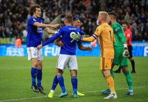 Leicester City's Jamie Vardy celebrates scoring the winning penalty.