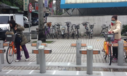 YouBike renters park after a ride in Taipei on March 16, 2016.