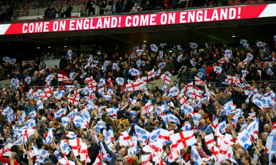 England fans at Wembley in March 2019. The FA hopes the stadium can be half-full for the semi-finals and final of Euro 2020.