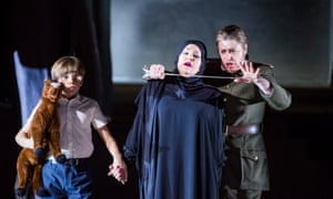 Voices perfectly blended … Joyce DiDonato (centre) in the title role with Ludovic Gwyther as her son and Daniela Barcellona (right) as Arsace in Semiramide at the Royal Opera House, London.