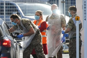Birmingham, UK Military personnel help administer Covid-19 tests for NHS workers at Edgbaston cricket ground