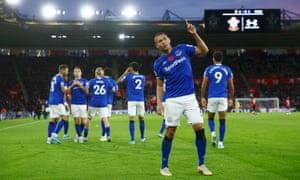 Richarlison celebrates scoring Everton's second goal against Southampton.