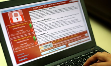 A laptop infected by 'WannaCry' ransomware.