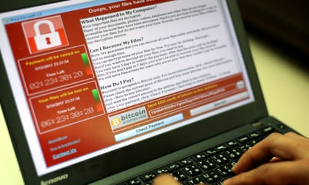 WannaCry ransomware on a laptop