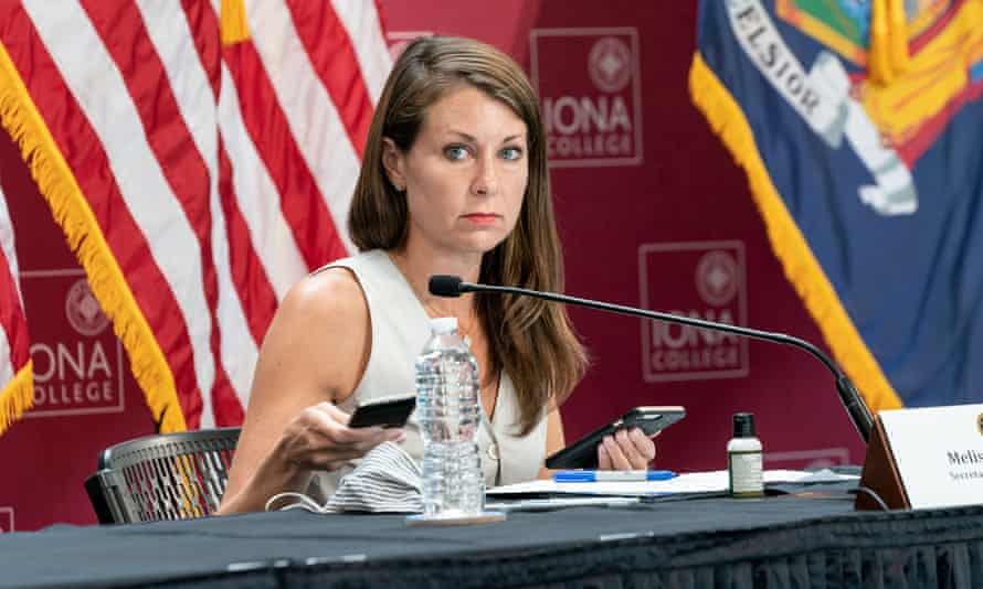 Melissa DeRosa at one of Cuomo's daily Covid briefings in New Rochelle, New York, on 29 May 2020.