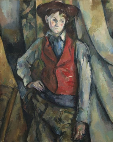 Detail from Boy in a Red Waistcoat 1888-90 by Paul Cézanne.