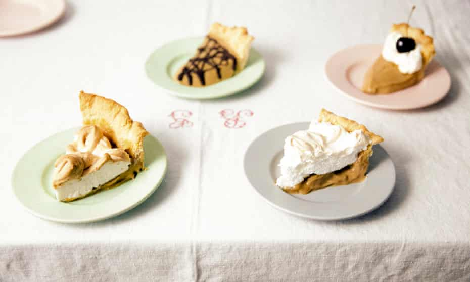 Chocolate and sea salt butterscotch pie alongside three variations on the filling.