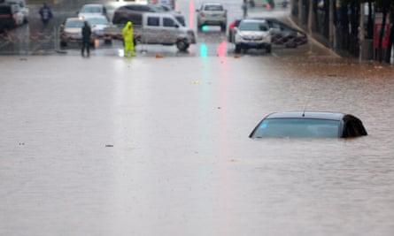 Flooding on the roads in Jiujiang, China