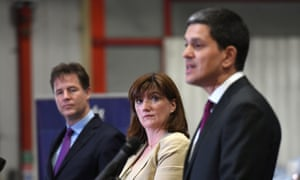 Liberal Democrat former deputy PM Sir Nick Clegg, Tory ex-education secretary Nicky Morgan and Labour former foreign secretary David Miliband at a cross-party Brexit event in Rainham, Essex.