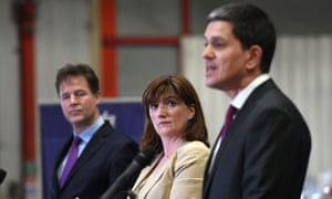 Nick Clegg, Nicky Morgan and David Miliband speaking this morning at a cross-party Brexit event at Tilda Rice Mill in Rainham, Essex.