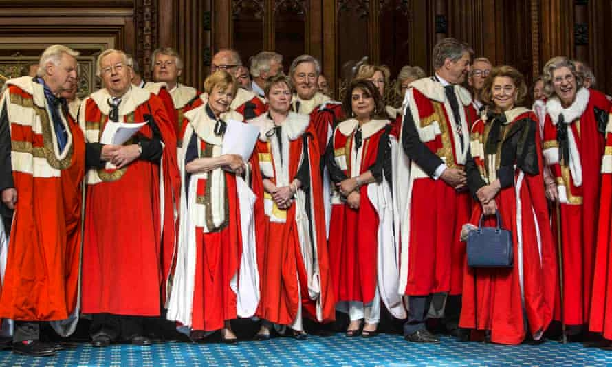 Members of the House of Lords attending the state opening of parliament.
