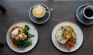 Poached eggs and coffee at Established, Belfast.