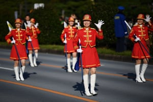 Participants in a parade marking the enthronement of Japan's Emperor Naruhito in front of the imperial palace